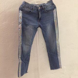 Something Borrowed Metallic Stripe Boyfriend Jeans