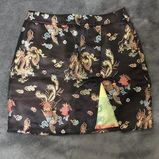 復古刺繡開衩短裙