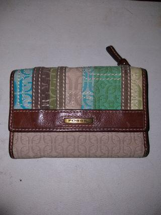 Original Fossil monogram leather trifold wallet