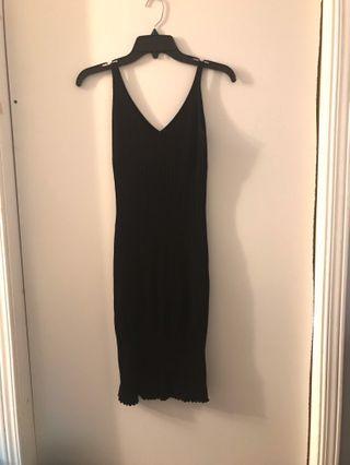 Black Ribbed Midi V Neck Dress