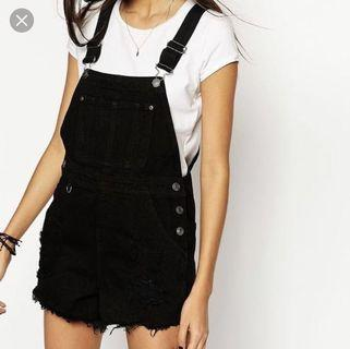 black denim short-tall overall