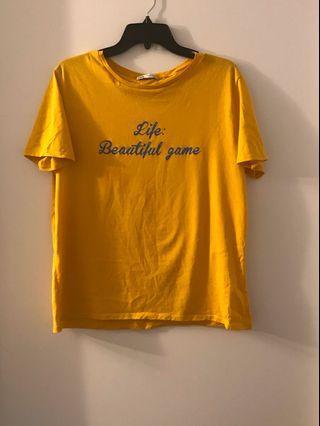 Zara Graphic Yellow T Shirt