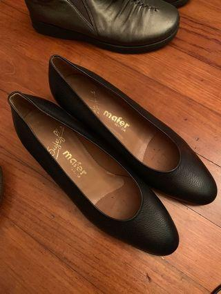 Mafer Black Italy leather heels pumps