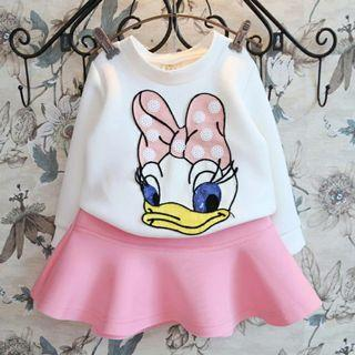 [Free Shipping] New without tag! Disney Donald Duck Cartoon Kids Girl Sweet Pink Long Sleeves + Skirt Set (3T)