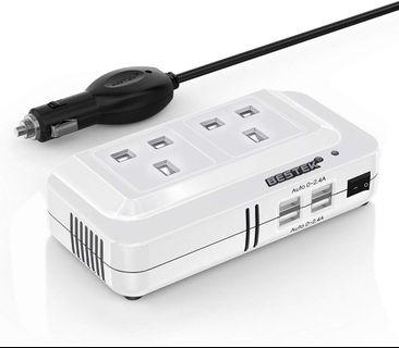BESTEK 200W Power Inverter DC 12V to AC 230V 240V Dual Socket Car Voltage Converter Transformer with 4 USB Car Charger