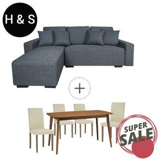 BUNDLE SALE (FREE DELIVERY) - Sofa + Dining Set by Home And Style