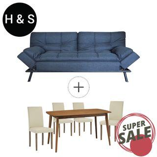 BUNDLE SALE (FREE DELIVERY) - Sofa Bed + Dining Set by Home And Style