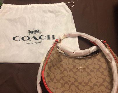 New Authentic Coach Signature Harley East West Hobo- Khaki Bright Orange Sling/Handbag Sig Hrly Ew Hobo