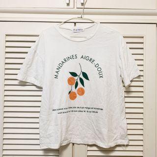 可愛橘子白色短袖T恤