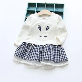 [Free Shipping] New without tag! White Checkers Rabbit Long Sleeves Dress (3T)