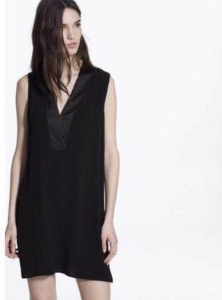 BNWT Authentic Mango Little Black Dress With Satin VNeck Details