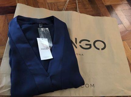 BNWT Authentic Mango Navy Blue Satin Vneck Longsleeved Dress