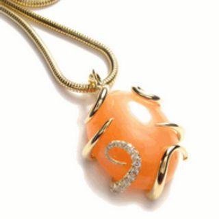 Custom Made-Natural Orange Moonstone Diamond Pendant. Custom Made. PM for Details.