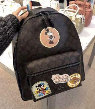COACH 女士PVC迪士尼合作限量款徽章雙肩背包後背包書包旅行包