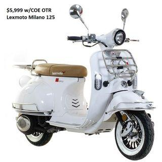 Lexmoto Milano 125 (last 3 units only) $5999 with COE and insurance*