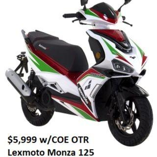 Lexmoto Monza 125 $5999 with COE and insurance* last unit