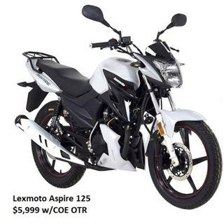 Lexmoto Aspire 125 $5999 with COE and insurance*. Last unit.