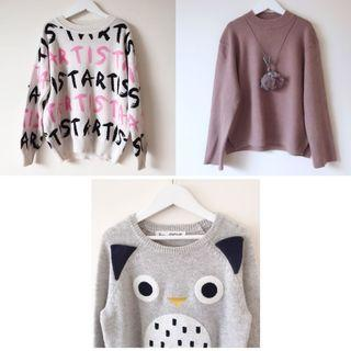 3x knit jumpers size 8 8-9