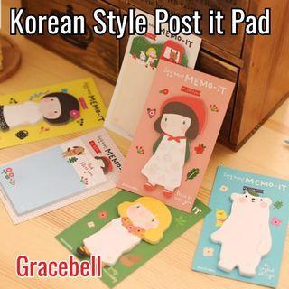Korean Style Gracebell Post it Pad / Sticky Memo ^^  Perfect gift for friends, events, children's party! Good for Birthday Goodie / Loot Bags / Childrens Day / Teachers Day