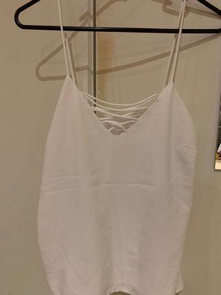 White criss cross singlet top size XS-S