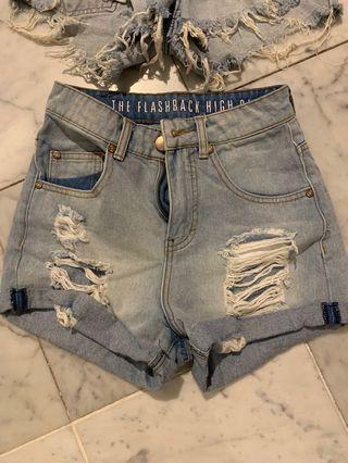 High waisted blue ripped denim shorts size 6-8/size XS-S