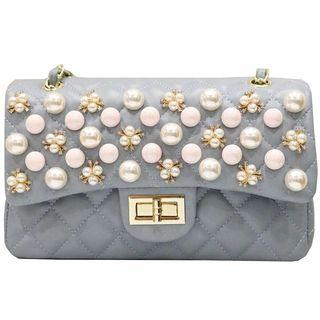 🚚 Chanel handbag baby blue double flap with back pocket pearls design