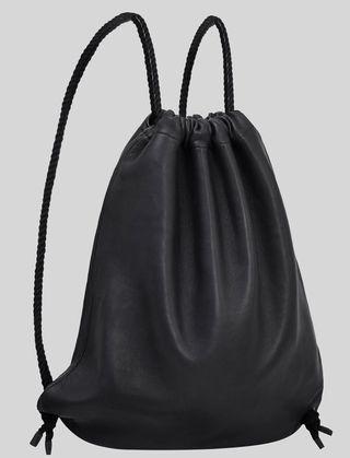 🚚 black leather drawstring bag