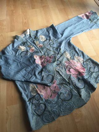 REDUCED! Embroidered Kebaya with matching pareo skirt #carouraya