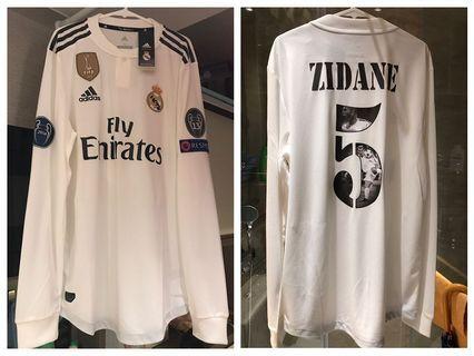 Adidas Real Madrid 皇家馬德里 銀河艦隊 18/19主場長袖球員版連四寶章 #5 Zidane Photo Gallery Print Word M size