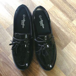 ulzzang black oxford loafers