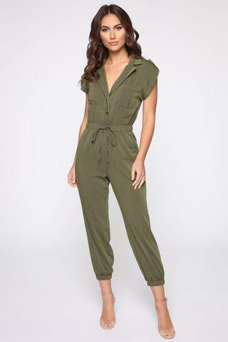 Fashion Nova Olive Mariel Utility Jumpsuit
