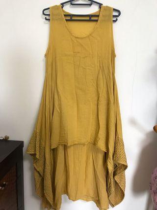 二手 無袖連身裙 芥黃色