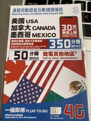USA, Canada,Mexico roaming data and voice card unlimited 4G