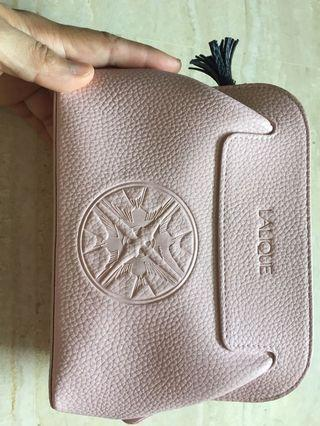 🚚 Lalique Pink Faux Leather amenity bag
