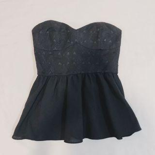 BNWT H&M Embroidered Ruffle Black Bustier Top