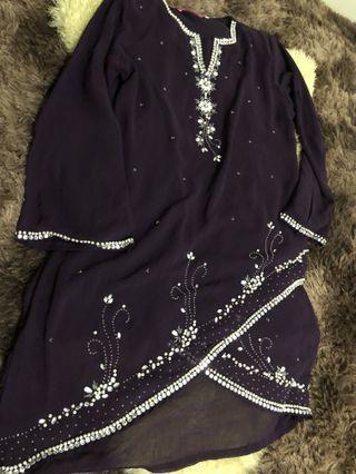 Baju Kurung moden in dark purple with beadings