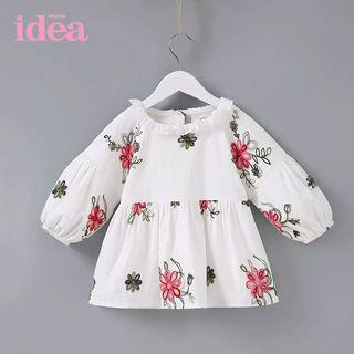 [Free Shipping] New without tag! IDEA brand kids baby White Flowery Long Sleeves Top Blouse