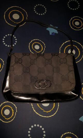 Gucci Big Mono Canvas Leather Shoulder Bag Authentic