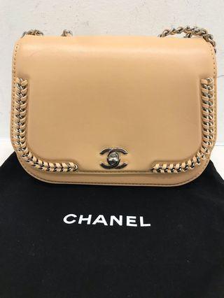 Chanel calfskin braided chic flap bag