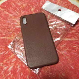 Leather-like soft case(brown-for iphone x only)