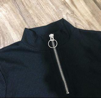 lettuce hem ring zip long sleeve top