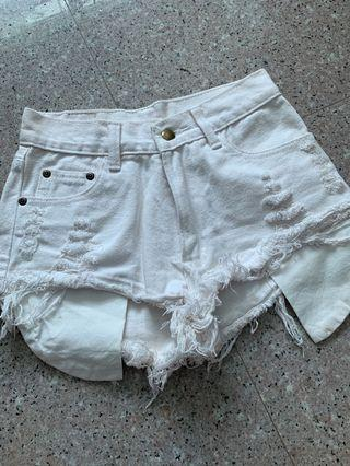 white ripped high waist shorts