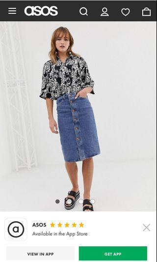 Button Up Denim Midi Skirt