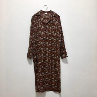 現貨💐咖啡色碎花長袖長洋裝 二手 連身裙