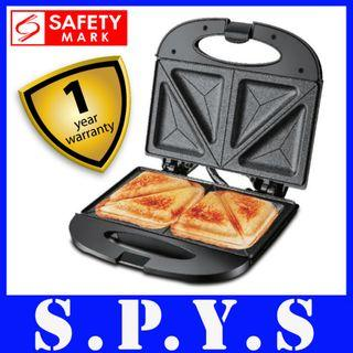 PowerPac PPT353 Sandwich Maker. Double Sided Heating Plates. Non Stick Coated. Safety Mark Approved. 1 Year Warranty.