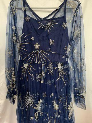 藍色星晨小禮服裙