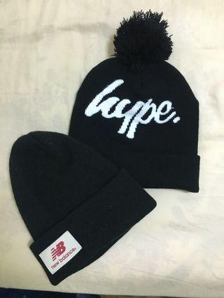 New balance/hype 黑色毛帽兩頂一組