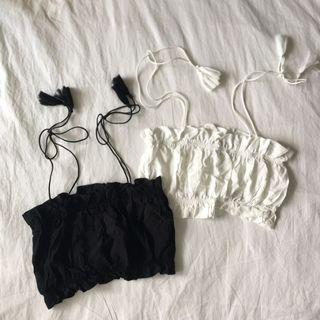 🚚 <flash sale> black/white tie camis