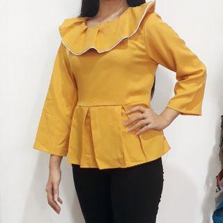 Baju Blouse wanita Mustard dengan kerah di leher ala korea
