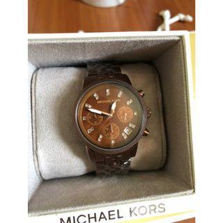 新色 MK5547 經典 咖啡金 三眼 計時 手錶 時尚錶
